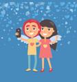 girlfriend and boyfriend making selfie vector image vector image