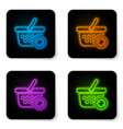 glowing neon refresh shopping basket icon vector image vector image