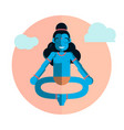 god krishna character sitting in lotus position vector image