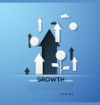 growth paper concept white silhouettes of arrows vector image