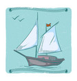 hand drawn sailboat ship on waves emblem design vector image