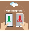 Hand holding smartphone cloud computing vector image vector image