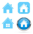 home icons set blue signs and buttons vector image