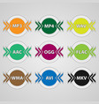 icons for audio and video file formats vector image vector image