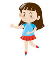 little girl in blue shirt and red skirt vector image vector image