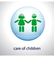Logo of the care of children - Children in a vector image vector image