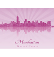 Manhattan skyline in purple radiant orchid vector image