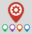 map pointer with gear icon on grey background vector image