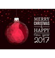 Merry christmas and happy new year blue polygonal vector image