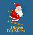 merry christmas greeting card santa claus vector image vector image