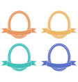 oval label with ribbon banner colored set vector image vector image