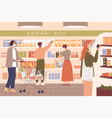 people wear masks at grocery store vector image