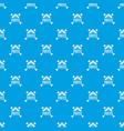 pirate bone pattern seamless blue vector image vector image