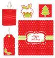 polka dot Christmas set vector image