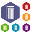 public trash can icons set hexagon vector image vector image