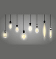 realistic incandescent lamps or hang bulb wire vector image vector image