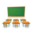 school chalkboard and desks empty blackboard vector image vector image