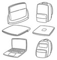 set of laptop and laptop bag vector image vector image