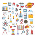set of scientific flat icons education vector image
