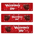 Set of three horizontal red banner with heart vector image vector image