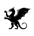 standing dragon silhouette vector image vector image