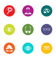 treat vision icons set flat style vector image vector image