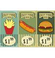 vintage fast food labels vector image vector image