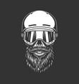 vintage snowboarder bearded skull vector image vector image