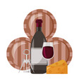 wine bottle cup cheese corkscrew and barrels vector image