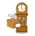 with box grandfather clock character cartoon vector image