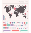 World map with set info graphics elements flat vector image vector image