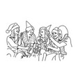 row of joyful friends with champagne and xmas vector image