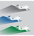 Airplanes silhouettes with color trace vector image