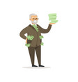 happy rich successful senior businessman character vector image