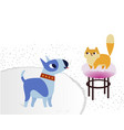 cat and dog characters bullterrier and cat vector image