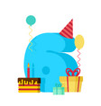 6 year happy birthday greeting card 6th vector image vector image