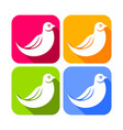 abstract dove bird color rounded square icons vector image vector image