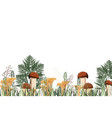 autumn background with mushrooms and herbs vector image