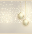 beautiful christmas balls on bokeh background vector image vector image