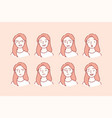 beautiful woman with different facial expressions vector image
