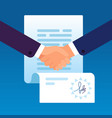 businessmen shaking hands to sign contract vector image