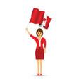 canadian woman waving a flag vector image vector image