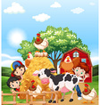 Children and farm animals vector image vector image