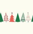 christmas trees border seamless pattern vector image