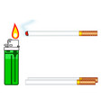 cigarette and gas lighter vector image vector image