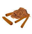cinnamon sticks and powder spice vector image