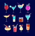 cocktail set iced alcohol drinks in glasses with vector image