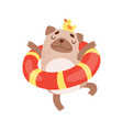 cute pug dog with lifebuoy funny friendly animal vector image vector image