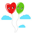 cute smiling isolated colored balloons on a white vector image vector image