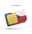 Czech Republic mobile phone sim card with flag vector image